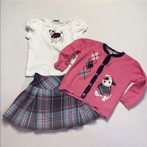 Hartstrings 3pc Set Girls 2T Sweater Tee Skort
